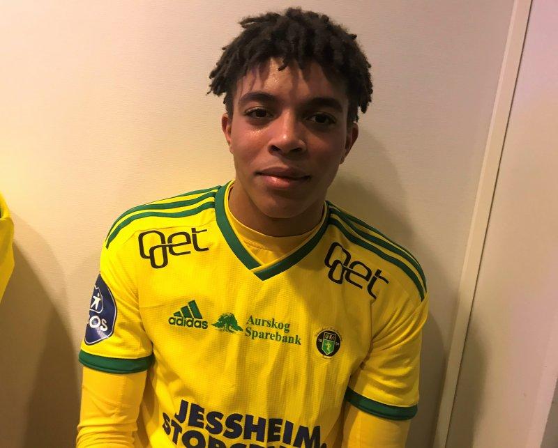 Christopher Notoane spilte sine første minutter for Ull/Kisas A-lag i treningskampen mot Raufoss.