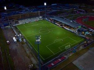 Oversiktsbilde over Jessheim stadion fra Ull/Kisas hjemmekamp mot Start i OBOS-ligaen 2017.