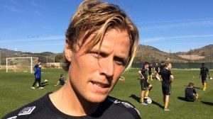 Andreas Aalbu hadde sin første trening med nye lagkamerater torsdag.