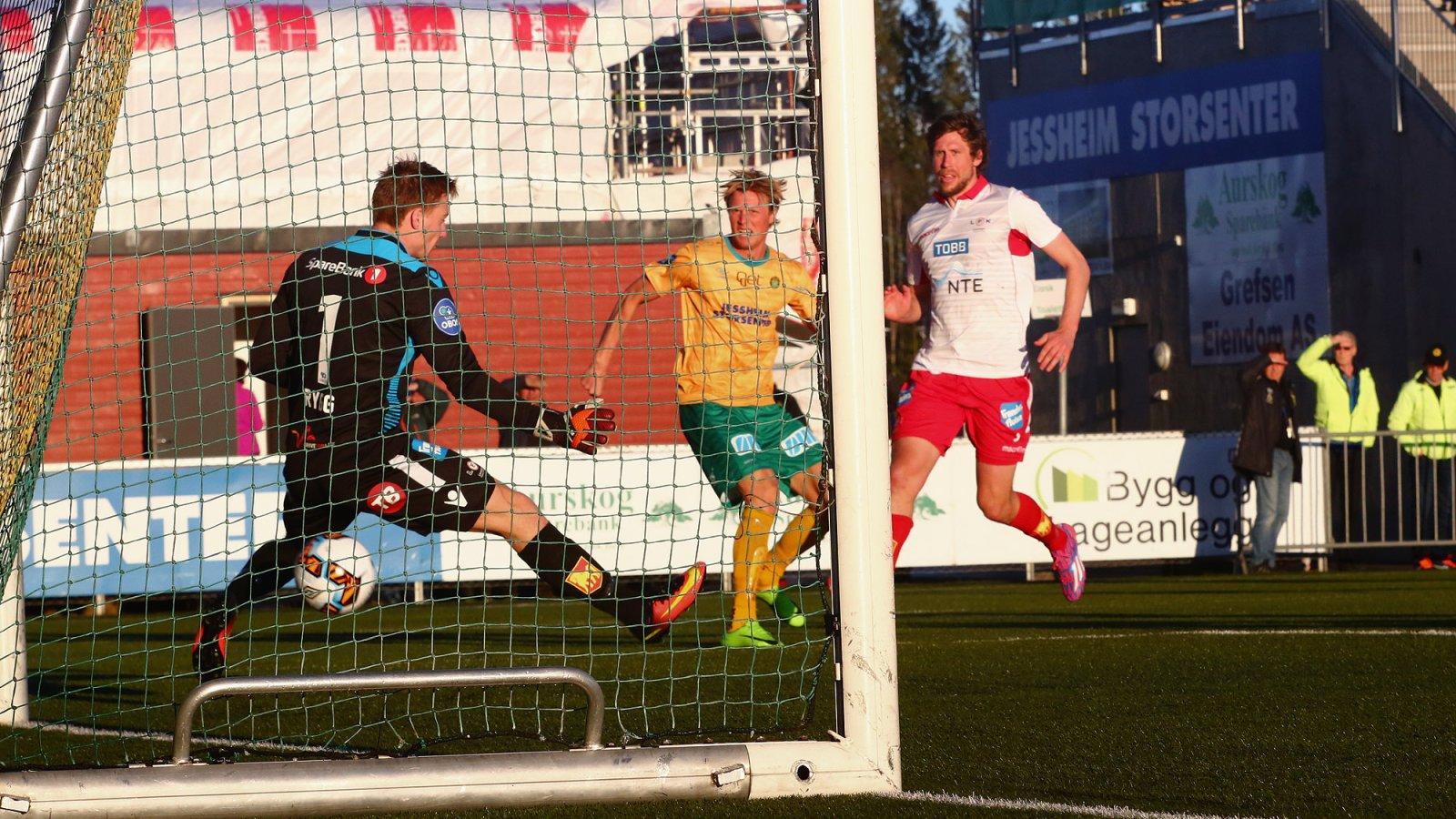 Andreas Aalbu utligner til 1-1 i kampen mot Levanger.