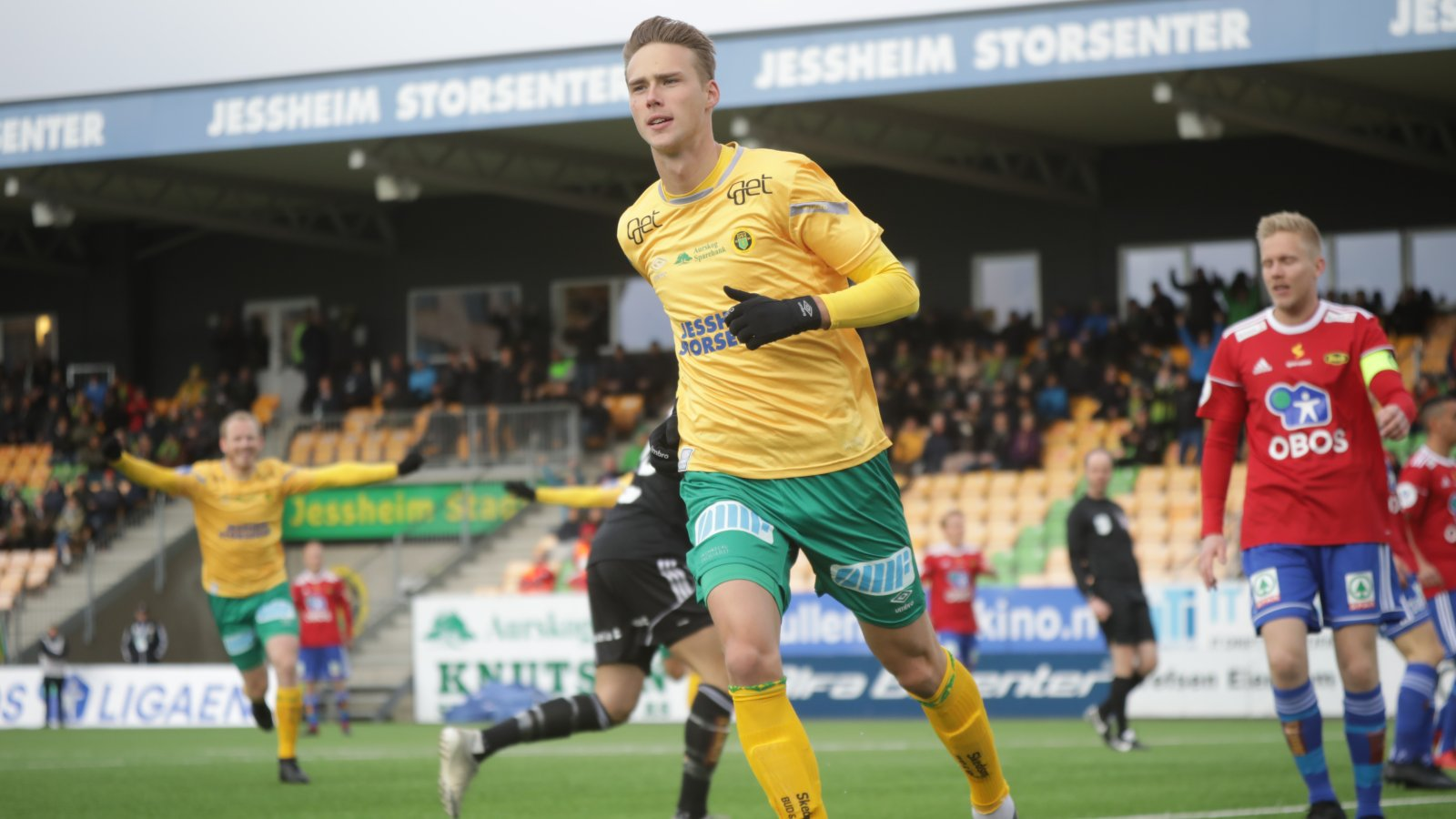 Magnus Retsius Grødem rett etter sin 1-0-scoring i den sjette serierunden mot Skeid.