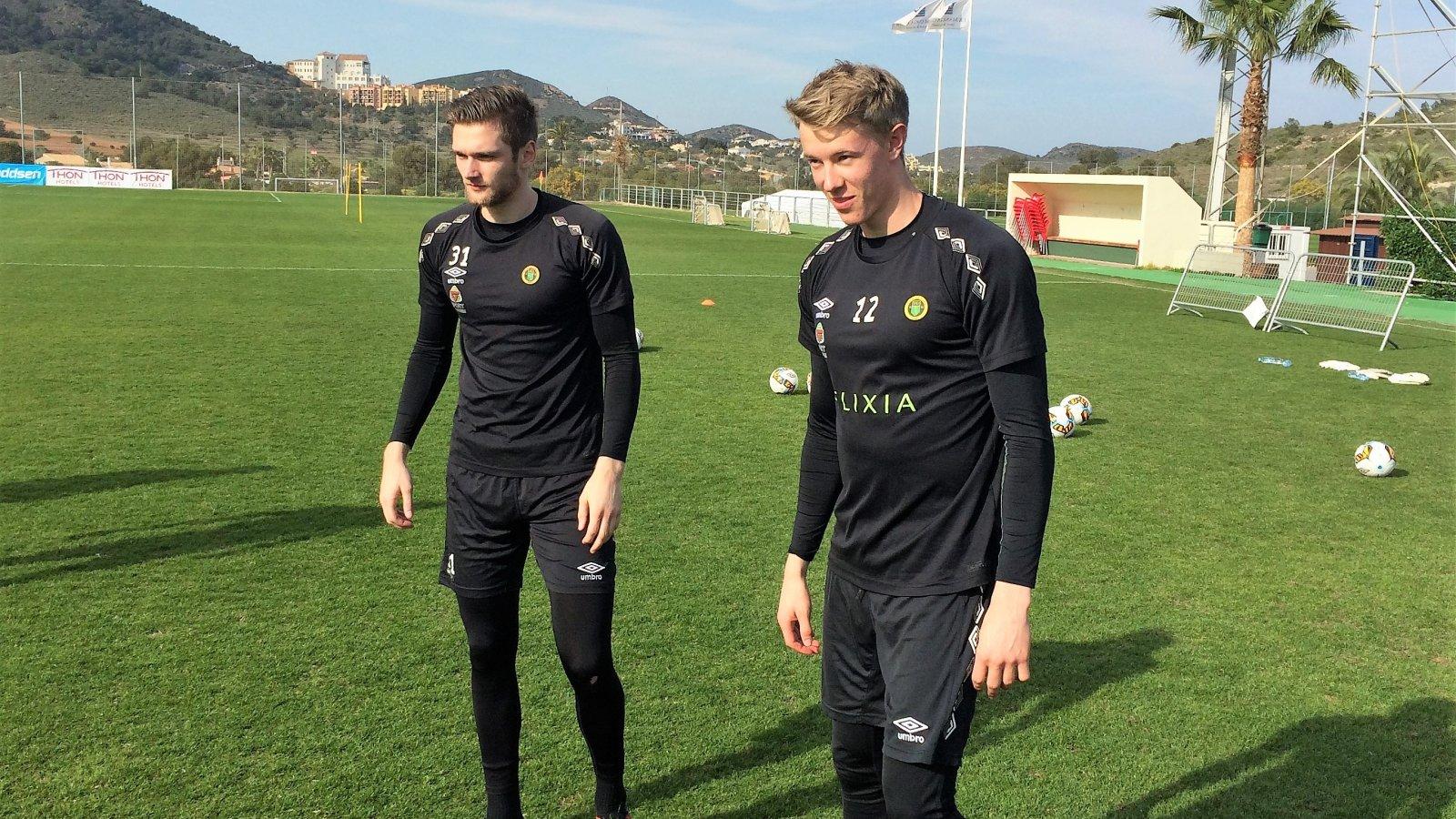 Stefan Hagerup og Fredrik Johansen Mundal under Ull/Kisas treningsleir i La Manga tidligere i vår.